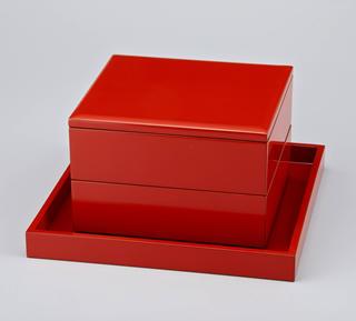 輪島塗 重箱 2段重(7寸×6.5寸) 淡口 無地 重台付