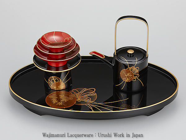 輪島塗 屠蘇器 黒 小判形 鼓蒔絵