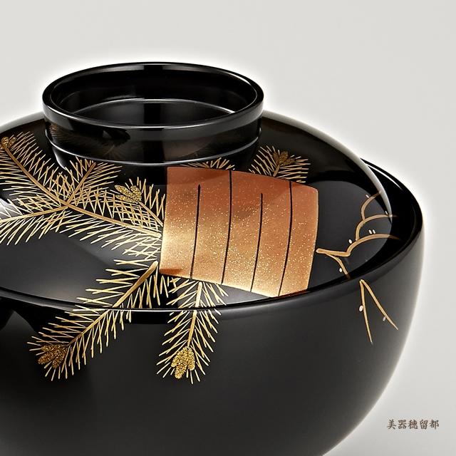 輪島塗 吸物椀  夫婦  黒塗 源氏香蒔絵  松風(桐箱入)部分