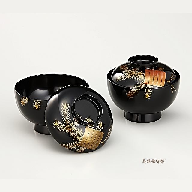 輪島塗 吸物椀  夫婦  黒塗 源氏香蒔絵  松風(桐箱入)