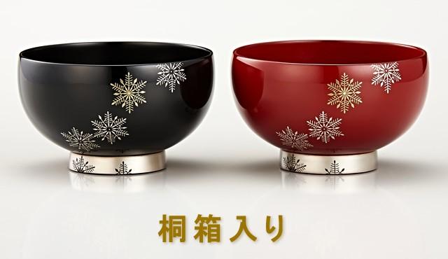 輪島塗 夫婦椀 スノークリスタル蒔絵 朱/黒 桐箱入りのページへ