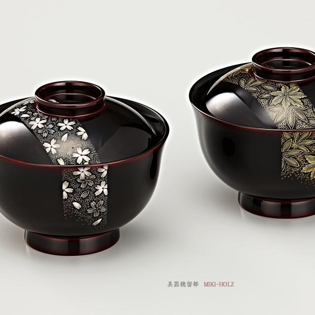 """<p class=""""eig"""">Urushi Art Wajimanuri:covered soup bowl,suimono-wan pair (code:1132)</p><p class=""""nih"""">輪島塗 吸物椀  夫婦  端反り 帯春秋沈金 溜内黒塗 桐箱入り</p>"""