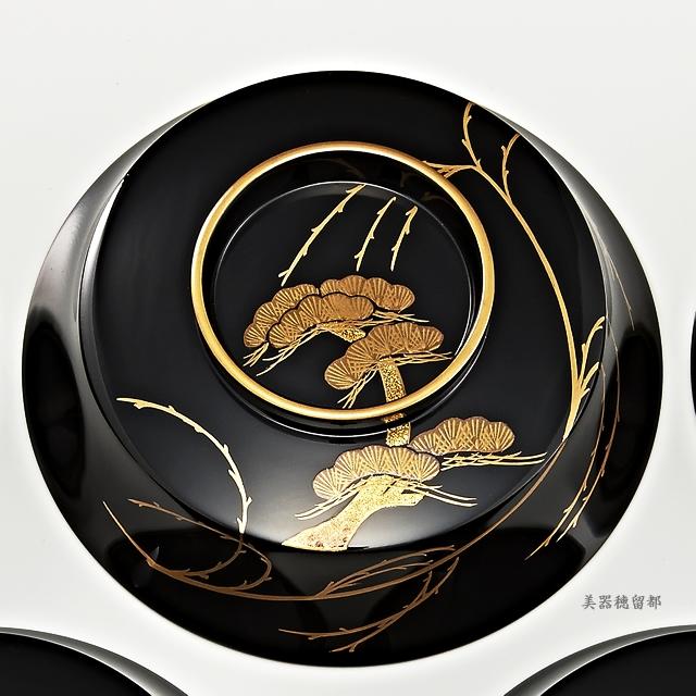輪島塗 煮物椀 角型 黒塗り 柳に五清蒔絵【5客揃え・桐箱入り】(蓋:松蒔絵)
