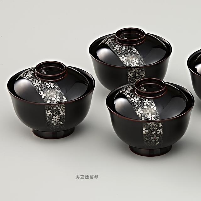"""<p class=""""eig"""">Urushi Art Wajimanuri:Soup bowl  suimono-wan (code:1162)</p><p class=""""nih"""">輪島塗 吸物椀 端反り 溜内黒塗り 帯春桜沈金 5客揃え</p>"""