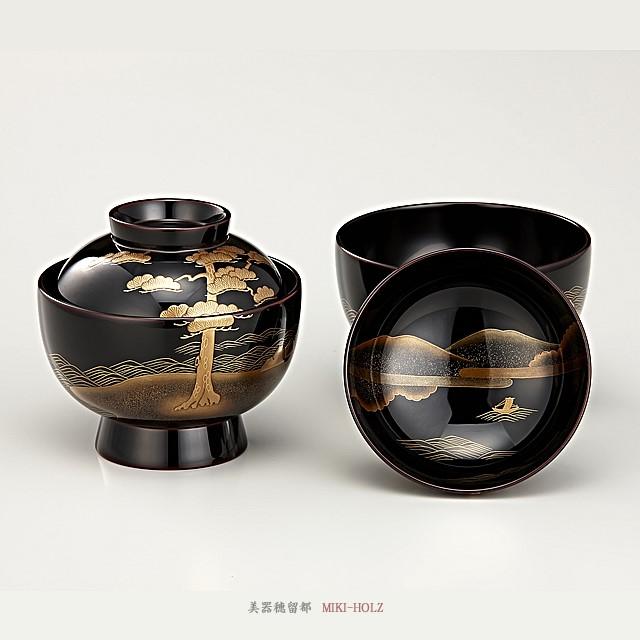 輪島塗 雑煮椀 夫婦 溜内黒塗 松島蒔絵(桐箱入り)/ Urushi Art Wajimanuri:Soup bowl zouni-wan, pair bowl (code:1197)