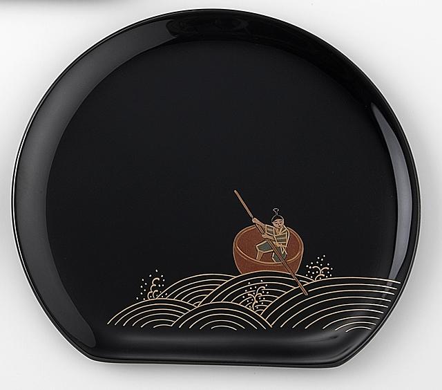 一寸法師 // 輪島塗 銘々皿 日本昔話 蒔絵 〔半月型〕