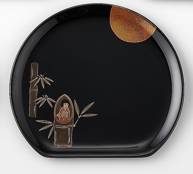 かぐや姫 // 輪島塗 銘々皿 日本昔話 蒔絵 〔半月型〕