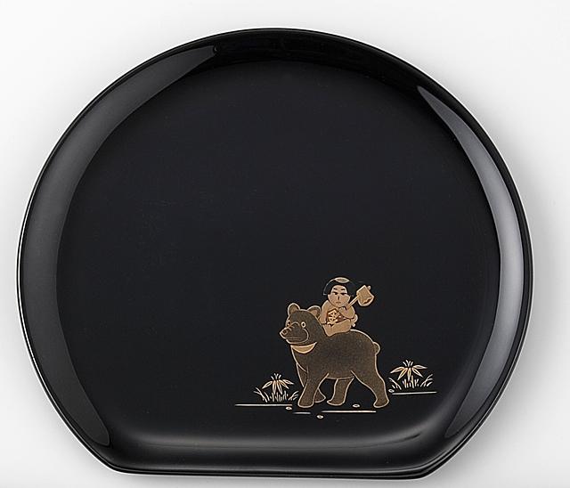 金太郎 // 輪島塗 銘々皿 日本昔話 蒔絵 〔半月型〕