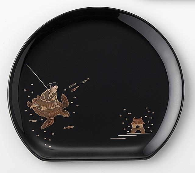 浦島太郎 // 輪島塗 銘々皿 日本昔話 蒔絵 〔半月型〕