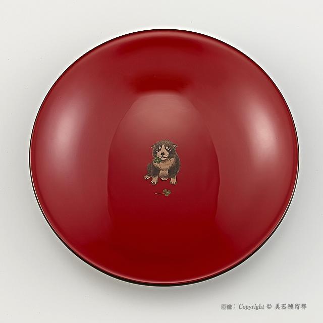 輪島塗 菓子鉢 ユリ型 干支・いぬ蒔絵 外黒内朱