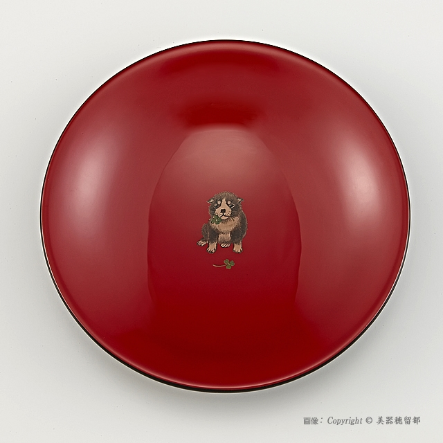 輪島塗 菓子鉢 ユリ型 干支・いぬ蒔絵 外黒内朱(菓子器)