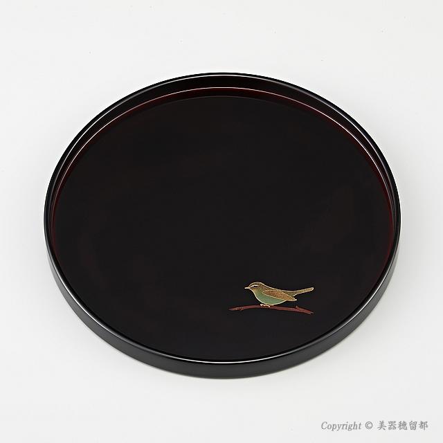 内祝いに 輪島塗 丸盆 8.5寸 干支・うぐいす蒔絵 外黒内溜