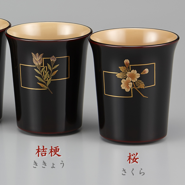 (左)色紙桔梗蒔絵・(右)色紙桜蒔絵 // 輪島塗 マグカップ 花蒔絵 外溜内白 端反り形