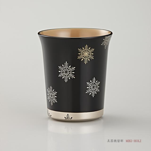 輪島塗 マグカップ 端反り型  スノークリスタル蒔絵 (外黒内白)/ Urushi Art Wajimanuri:mug (code:1965kuro)