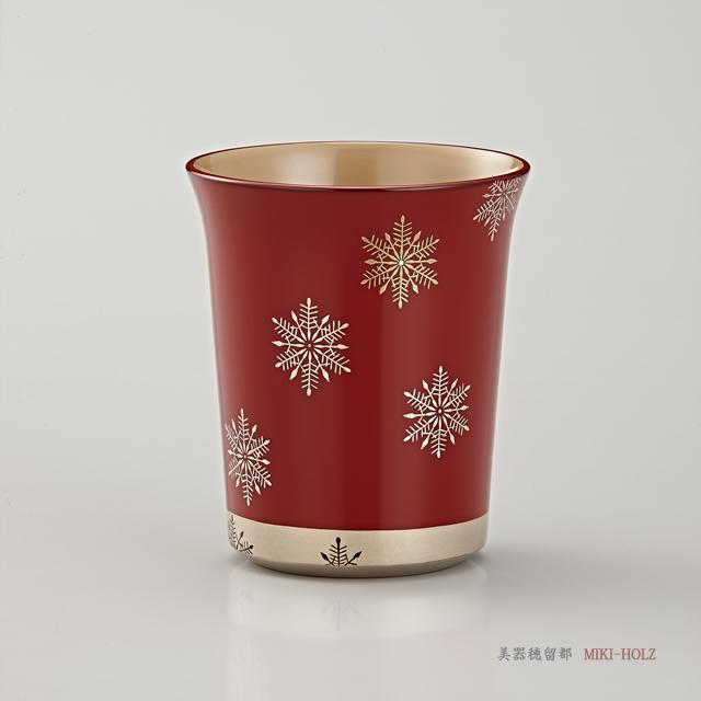 輪島塗 マグカップ 端反り型  スノークリスタル蒔絵 外朱内白 / Urushi Art Wajimanuri:mug(code:1965shu)