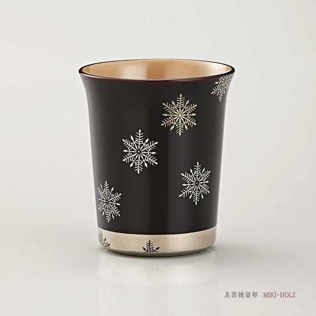 輪島塗 マグカップ 端反り型  スノークリスタル蒔絵 外溜内白 / Urushi Art Wajimanuri:mug(code:1965tame)