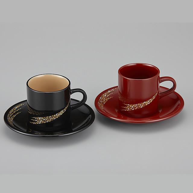 輪島塗 コーヒーカップ 小華沈金 ペア 外黒内白/うるみ (漆塗りスプーン付き)
