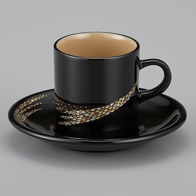輪島塗 コーヒーカップ 小華沈金 外黒内白(漆塗りスプーン付き) 紙箱入