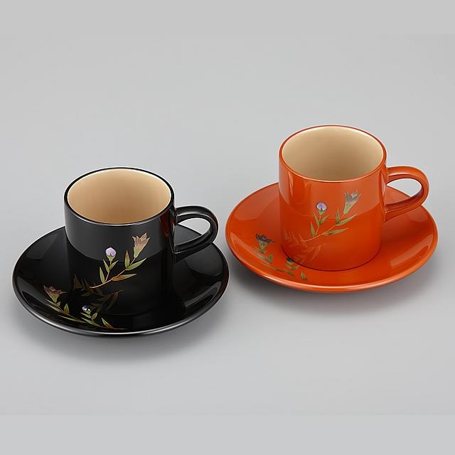 輪島塗 コーヒーカップ りんどう蒔絵 ペア 外黒内白/外洗朱内白 (漆塗りスプーン付き)