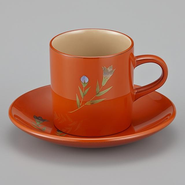 輪島塗 コーヒーカップ 桔梗蒔絵 外洗朱内白 (漆塗りスプーン付き)