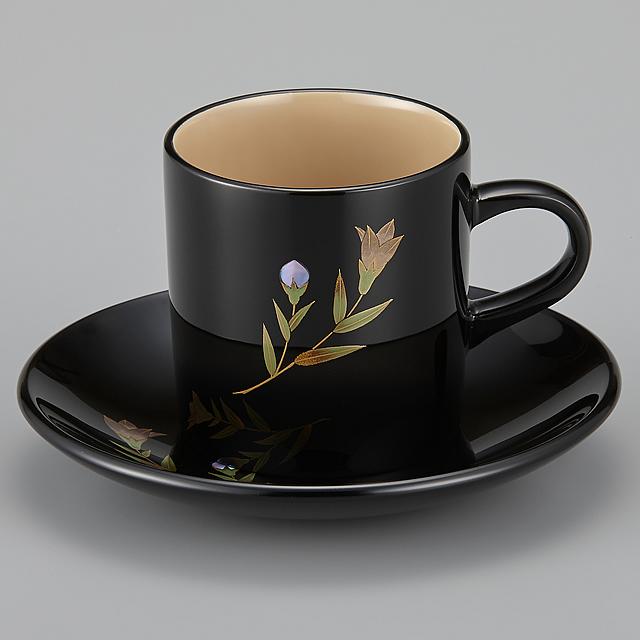 輪島塗 コーヒーカップ 桔梗蒔絵 外黒内白 (漆塗りスプーン付き)