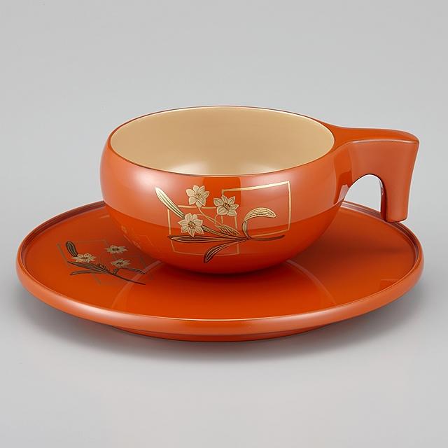 輪島塗 コーヒーカップ 色紙水仙蒔絵 外洗朱内白 (漆塗りスプーン付き)