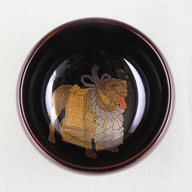 輪島塗 ぐい呑み 干支・ 戌(いぬ)蒔絵  溜塗り(丸大形)  桐箱入り
