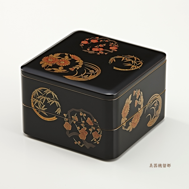 輪島塗 重箱 二段重 (6.5寸隅丸形) 黒内朱 花丸蒔絵