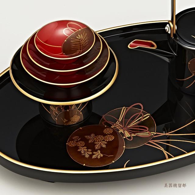輪島塗 屠蘇器 小判形 鼓蒔絵 (部分):屠蘇台の蒔絵