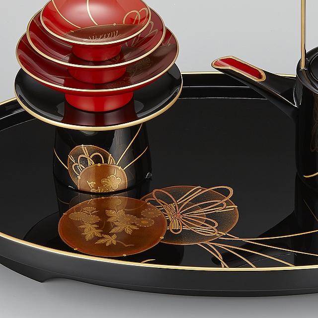 以前の「輪島塗 屠蘇器 小判形 鼓蒔絵」の屠蘇台の形