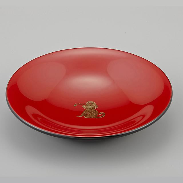 輪島塗 菓子鉢 ユリ型 干支・申蒔絵 外黒内朱(菓子器)