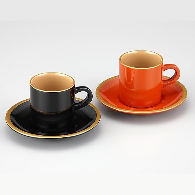 輪島塗 コーヒーカップ 金縁蒔絵 ペア 外黒内白/洗朱内白 漆塗りスプーン付き(桐箱入)/Urushi Art Wajimanuri:coffee cup pair (code:1906)