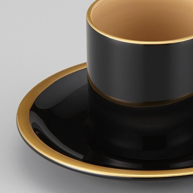 "<p class=""eig"">Urushi Art Wajimanuri:coffee cup (code:1906)</p><p class=""nih"">輪島塗 コーヒーカップ 金縁蒔絵 ペア 外黒内白/洗朱内白 漆塗りスプーン付き(桐箱入)</p><p class=""i95"">外黒内白</p>"
