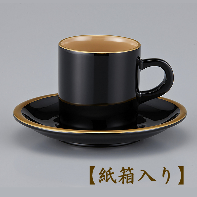 輪島塗 コーヒーカップ  金縁蒔絵 外黒内白 漆塗りスプーン付き/Urushi Art Wajimanuri:coffee cup (code:1906kuro)