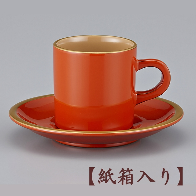 輪島塗 コーヒーカップ 金縁蒔絵 洗朱内白 漆塗りスプーン付き (紙箱入)