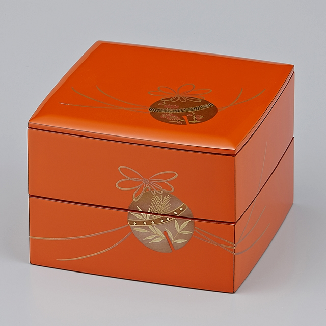 輪島塗 重箱 小重二段 (5寸隅立胴張形) 外洗朱内黒