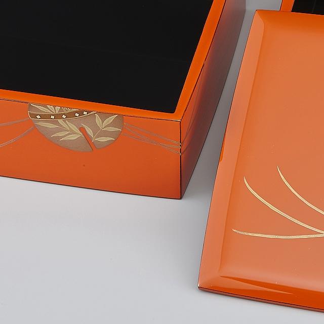 輪島塗 重箱 小重二段(5寸隅立胴張形)外洗朱内黒(そとあらいしゅうちくろ)