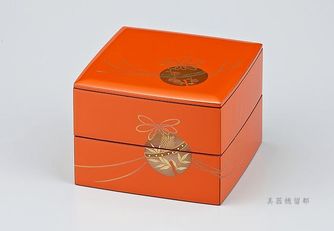 輪島塗 重箱 小重二段 (5寸隅立胴張形) 外洗朱内黒 (そとあらいしゅうちくろ) 鈴蒔絵