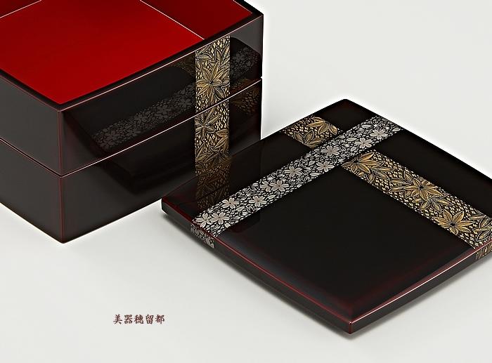 輪島塗 重箱 二段重 (6.5寸隅立形) 溜内朱 帯春秋沈金